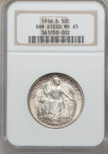 Commemorative Silver: , 1936-D 50C San Diego MS65 NGC. NGC Census: (1463/481). PCGSPopulation (4027/853). Mintage: 30,092. Numismedia Wsl. Price f...