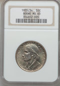 Commemorative Silver: , 1935/34 50C Boone MS65 NGC. NGC Census: (539/295). PCGS Population(666/290). Mintage: 10,008. Numismedia Wsl. Price for pr...