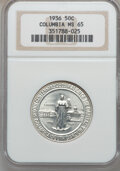 Commemorative Silver: , 1936 50C Columbia MS65 NGC. NGC Census: (598/585). PCGS Population(848/505). Mintage: 9,007. Numismedia Wsl. Price for pro...