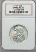 Commemorative Silver: , 1936 50C Boone MS65 NGC. NGC Census: (576/303). PCGS Population(745/392). Mintage: 12,012. Numismedia Wsl. Price for probl...