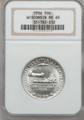 Commemorative Silver: , 1936 50C Wisconsin MS65 NGC. NGC Census: (1322/1615). PCGSPopulation (2226/1987). Mintage: 25,015. Numismedia Wsl. Price f...