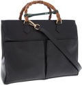 Luxury Accessories:Bags, Gucci Black Leather Tote Bag with Bamboo Handles and Two FrontPockets. ...