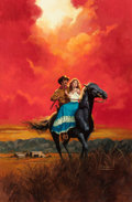 Pulp, Pulp-like, Digests, and Paperback Art, ROBERT MAGUIRE (American, 1921-2005). Western Love Story,paperback cover. Oil on board. 39.75 x 25.25 in.. Signedlower...