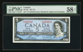 "Canadian Currency: , BC-39c $5 1954 with ""Radar"" Serial Number 2255522. ..."
