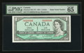 "Canadian Currency: , BC-37c $1 1954 with ""Radar"" Serial Number 4430344. ..."