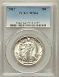 Walking Liberty Half Dollars: , 1917 50C MS64 PCGS. PCGS Population (743/404). NGC Census:(658/258). Mintage: 12,292,000. Numismedia Wsl. Price for proble...