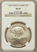 Modern Issues: , 1995-W $1 Special Olympics Silver Dollar MS69 NGC. NGC Census:(647/210). PCGS Population (1024/95). Numismedia Wsl. Price...