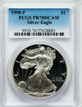 Modern Bullion Coins: , 1998-P $1 Silver Eagle PR70 Deep Cameo PCGS. PCGS Population(1102). NGC Census: (1055). Numismedia Wsl. Price for problem...