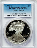 Modern Bullion Coins: , 1990-S $1 Silver Eagle PR70 Deep Cameo PCGS. PCGS Population(1242). NGC Census: (1149). Mintage: 695,510. Numismedia Wsl. ...