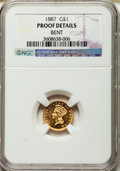 Proof Gold Dollars, 1887 G$1 -- Bent -- NGC Details. Proof....
