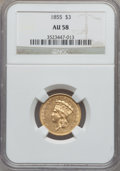 Three Dollar Gold Pieces, 1855 $3 AU58 NGC....