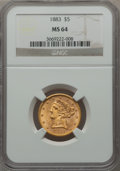 Liberty Half Eagles, 1883 $5 MS64 NGC....