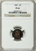 Proof Seated Dimes: , 1882 10C PR62 NGC. NGC Census: (15/218). PCGS Population (36/208).Mintage: 1,100. Numismedia Wsl. Price for problem free N...