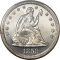 Proof Seated Quarters, 1858 25C PR63 Cameo PCGS. CAC....