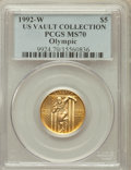Modern Issues, 1992-W G$5 Olympic Gold Five Dollar MS70 PCGS. Ex: BinionCollection. PCGS Population (351). NGC Census: (0). Mintage:27,7...
