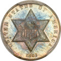 Proof Three Cent Silver, 1863 3CS PR66 PCGS. CAC....
