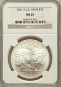 Modern Issues, 2011-S $1 U.S. Army MS69 NGC. NGC Census: (177/446). PCGSPopulation (498/229). Numismedia Wsl. Price for problem free NGC...