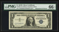 Error Notes:Mismatched Serial Numbers, Fr. 1621 $1 1957B Silver Certificate. PMG Gem Uncirculated 66 EPQ.. ...