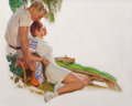 Mainstream Illustration, TOM LOVELL (American, 1909-1997). Couple Lounging, probablemagazine story illustration. Oil on canvas. 24.5 x 30.5 in....