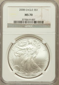 Modern Bullion Coins, 2008 $1 Silver Eagle MS70 NGC. NGC Census: (5220). PCGS Population(1462). Numismedia Wsl. Price for problem free NGC/PCGS...