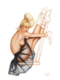 Pin-up and Glamour Art, OLIVIA DE BERARDINIS (American, b. 1948). The Dancer, 1994.Watercolor and gouache on board. 32 x 24 in. (image). Signed...