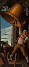 Mainstream Illustration, ROBERT RIGGS (American, 1896-1970). Ringing of the Bell. Oilon panel. 23 x 10.5 in.. Initialed lower right. ...