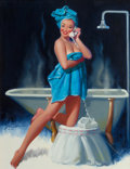 "Pin-up and Glamour Art, DONALD ""RUSTY"" RUST (American, b. 1932). Pin-Up in a BlueTowel, 1995. Oil on canvas. 30 x 24 in.. Signed center left.... (Total: 2 Items)"