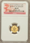 Australia: , 2012-P G$5 Year of the Dragon MS69 NGC. NGC Census: (492/1024). PCGS Population (523/0)....
