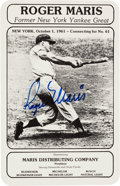 Autographs:Others, Circa 1980 Roger Maris Signed 61st Home Run Photographic Card....