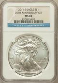 Modern Bullion Coins, 2011-S $1 Silver Eagle, 25th Anniversary Set MS69 NGC. NGC Census:(1555/2339). PCGS Population (1050/682). Numismedia Wsl...