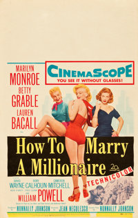 """How to Marry a Millionaire (20th Century Fox, 1953). Window Card (14"""" X 22""""). Comedy"""