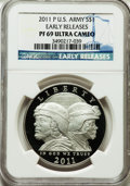 Modern Issues, 2011-P $1 U.S. Army, Early Releases PR69 Ultra Cameo NGC. NGCCensus: (1243/1526). PCGS Population (404/106)....