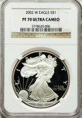 Modern Bullion Coins, 2002-W $1 Silver Eagle PR70 Ultra Cameo NGC. NGC Census: (3647).PCGS Population (1478). Numismedia Wsl. Price for problem...