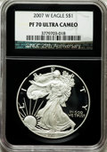 Modern Bullion Coins, 2007-W $1 Silver Eagle PR70 Ultra Cameo NGC. 25th AnniversaryHolder. NGC Census: (7370). PCGS Population (1938). Numismed...