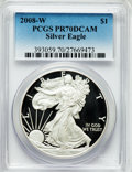 Modern Bullion Coins, 2008-W $1 Silver Eagle PR70 Deep Cameo PCGS. PCGS Population(1398). NGC Census: (12277). Numismedia Wsl. Price for proble...