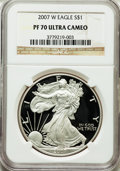 Modern Bullion Coins, 2007-W $1 Silver Eagle PR70 Ultra Cameo NGC. NGC Census: (7370).PCGS Population (1938). Numismedia Wsl. Price for problem...