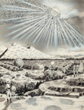 Pulp, Pulp-like, Digests, and Paperback Art, FRANK R. PAUL (American, 1884-1963). Land of Aliens, pulpinterior story illustration. Charcoal pencil, watercolor, and...