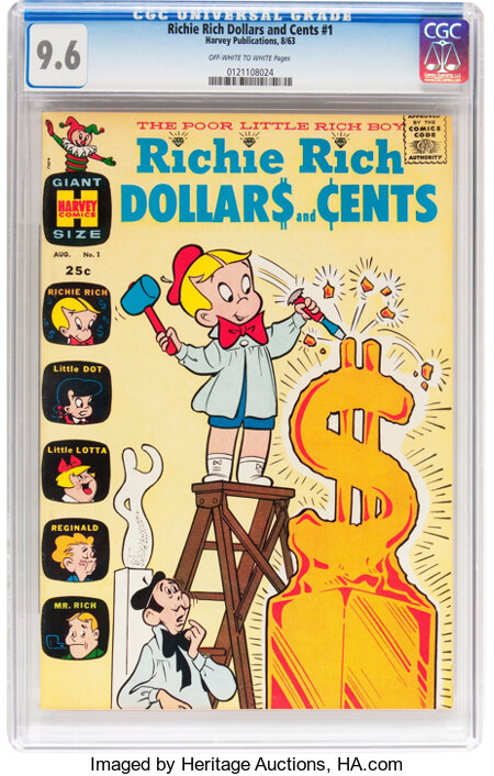 Richie Rich Dollars and Cents #1 (Harvey, 1963) CGC NM+ 9.6 Off-white to white pages....