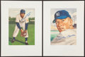 """Baseball Collectibles:Others, 1953 Topps Mickey Mantle and Willie Mays Signed """"Marriott"""" Prints...."""