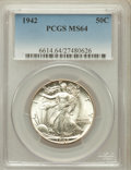 Walking Liberty Half Dollars: , 1942 50C MS64 PCGS. PCGS Population (5912/9367). NGC Census:(3974/7927). Mintage: 47,839,120. Numismedia Wsl. Price for pr...