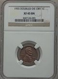 Lincoln Cents, 1955 1C Doubled Die Obverse XF45 NGC. FS-101....