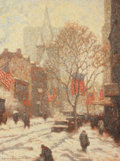 Fine Art - Painting, American, LAURENCE A. CAMPBELL (American, b. 1939). January SnowStorm. Oil on canvas. 40 x 30 inches (101.6 x 76.2 cm). Signedlo...