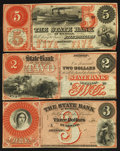 Obsoletes By State:Michigan, Detroit, MI- The State Bank of Michigan $2, $3, and $5 18__ Remainders. ... (Total: 3 notes)