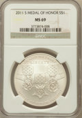 Modern Issues, 2011-S $1 Medal of Honor MS69 NGC. NGC Census: (247/328). PCGSPopulation (487/125). Numismedia Wsl. Price for problem fre...