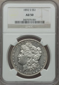 Morgan Dollars, 1892-S $1 AU50 NGC....