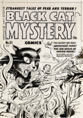 Original Comic Art:Covers, Al Avison (attributed) - Black Cat Mystery #31 Cover Original Art(Harvey, 1951). As all hell breaks loose, it's a struggle ...