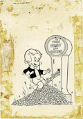 Original Comic Art:Covers, Warren Kremer - Richie Rich Success Stories #24 Cover Original Art(Harvey, 1969). Richie breaks the scale, and the bank in ...