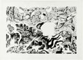 """Original Comic Art:Sketches, Jack Kirby and Mike Royer - Ariel, the Book of Fantasy V3 """"Musings"""" Illustration Original Art (Ballantine,1978). Two masters..."""