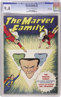 The Marvel Family #15 Crowley Copy pedigree (Fawcett, 1947) CGC NM 9.4 Cream to off-white pages. C. C. Beck and Bud Thom...