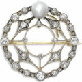 Estate Jewelry:Brooches - Pins, Antique Pearl, Diamond, Platinum-Topped Gold Brooch. The broochfeatures a baroque pearl, enhanced by European, single and...